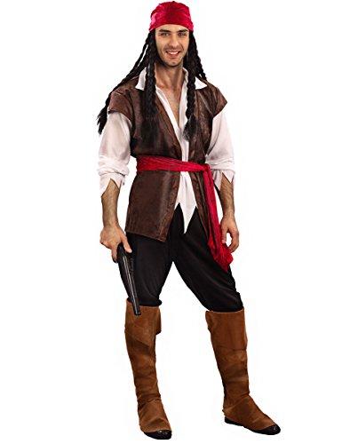 KULTFAKTOR GmbH Verruchter Pirat Kostüm Freibeuter Plus Size braun-Weiss-rot XL