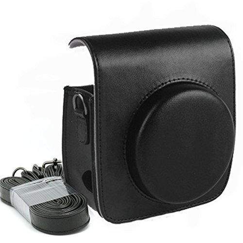 KALDA Tasche für Fujifilm Instax Mini 90 Neo Classic Sofortbildkamera, Schutztasche aus Weichem Kunstleder mit Schulterriemen (Schwarz)