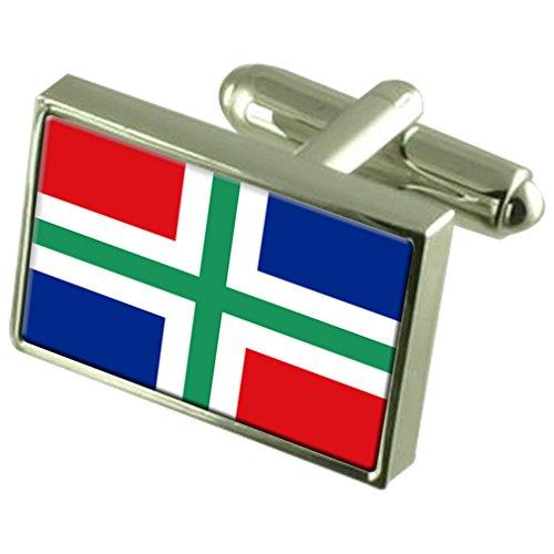 Groningen Sterling Silver Flag de manchette en boîte personnalisée gravée