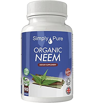 New, Organic Neem 90x Capsules, 100% Natural Soil Association Certified, High Strength 500mg, Antioxidant, Immune boost, Detox, Skin, Immune,Gluten Free, Vegan, Exclusive to Amazon, Simply Pure, Moneyback Guarantee.