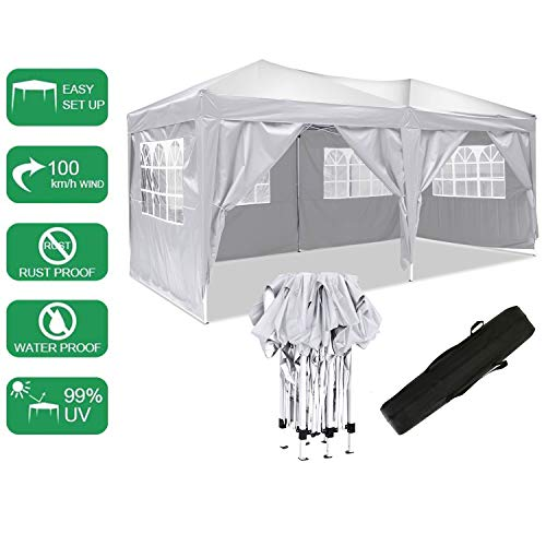 Pavillon 3mx6m, Tente de pavillon Pliable imperméable à l'eau, Tente de pavillon Pliante avec 4 côtés pour Jardin/fête/Mariage/Pique-Nique/marché (Blanc-)