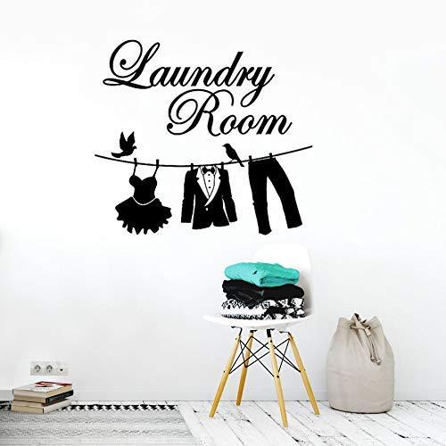 Waschküche Zeichen Wandtattoos Kleid Tuch Panty Design Wandaufkleber Wäscheservice Vinyl Wand Poster Tuch Seil Wandbilder 57 * 51 cm
