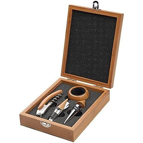 Lujo Bambú Caja de Vino y Set de regalo de bar, 4piezas, anillo de goteo de incluye sacacorchos, tapón y vertedor