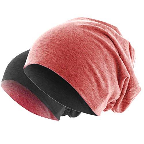 Hatstar Slouch Long Beanie 2in1 Reversible Jersey Mütze in 44 Farben Sommermütze (hellrot meliert/dunkelgrau)