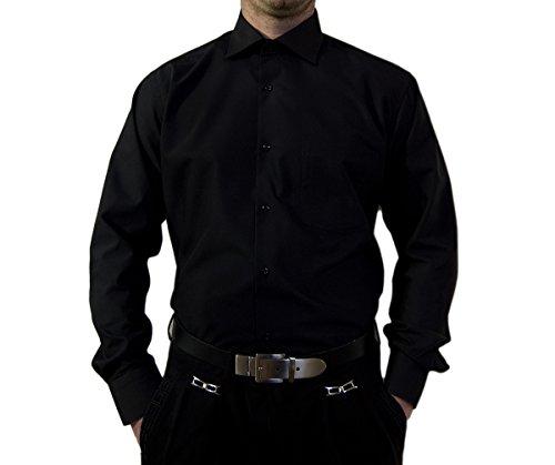 Designer Herren Hemd Schwarz klassischer Kragen Herrenhemd Kentkragen Langarm Größe XXXL 48