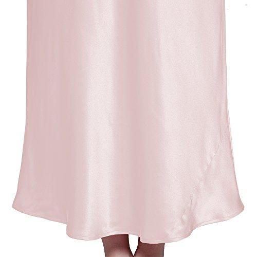 LILYSILK Chemise de Nuit 100% Soie Femme à Bretelle Maxi 22 Momme Rose Clair