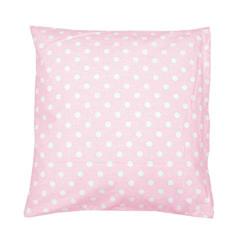 TupTam Kissenbezug Kissenhülle 100% Baumwolle Dekokissen, Farbe: Tupfen Rosa, Größe: 40 x 40 cm