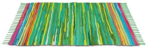 Flickenteppich handgewebter Teppich aus Baumwolle, stylischer und strapazierfähiger Fleckerlteppich in vielen verschiedenen modischen Ausführungen erhältlich (50 x 80cm / grün - dunkelgrün)