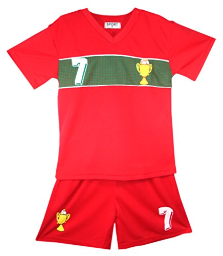 Neue Jungen und Mädchen Sommer-Fußball Weste Kit, kurze starr für Alter Größen 2–12Jahre, Portugal* (Alte Fußball-kits)