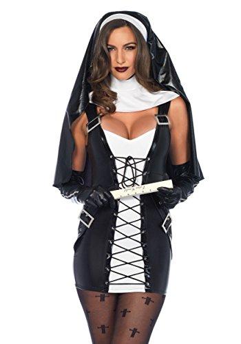 tüm Naughty Nonne S/M schwarz weiß (Naughty Kostüm)