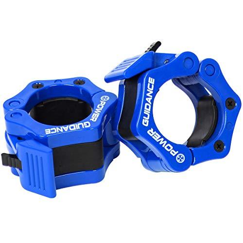 POWERGUIDANCE Hantelstangen-Stellringe für Scheibenhanteln, 1Paar, 5,1cm, mit Schnellentriegelung, für olympische Langhantel, ideal für Cross-Fitness-Training, blau