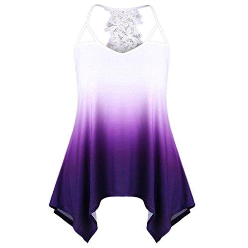 Huihong Frauen ärmelloses Hemd Spitze Nähte Cutwork Spitzenbesatz Eombre Weste Persönlichkeit Gradienten Tank Top Unregelmäßige Saum Elegante Bluse (Lila, XL)
