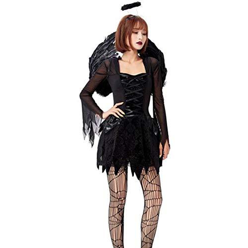 Mesh Kostüm Engel - QWE Halloween Kostüm Cosplay Erwachsenen Engel und Dämon Kostüm schwarzer Engel Mesh Kleid mit Flügeln