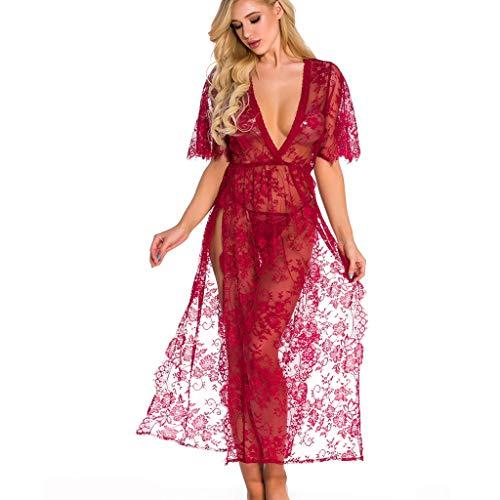 Faux-leder-wein (TTLOVE_Damen Sexy Dessous Lace Lingerie Robe Durchsichtig Nachtwäsche Langes Spitzenkleid Kimono Cardigan (Wein,L))