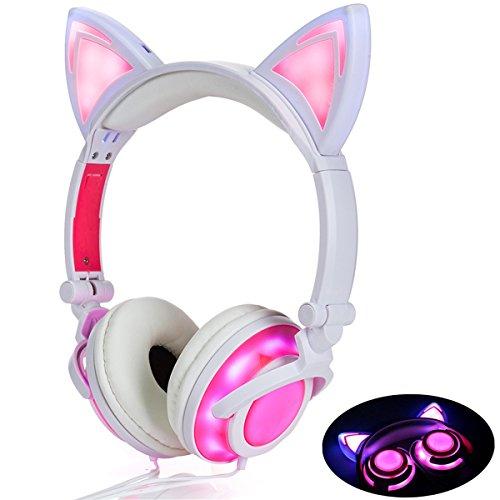 ☺ CARACTERÍSTICAS:   ◆ Propietario de la patente de este auricular de oreja de gato  ◆ Botón de luz LED detrás de la oreja izquierda, con luz encendida y modos parpadeantes.  ◆ Los altavoces y las luces se controlan de forma independiente.  ◆ Funció...