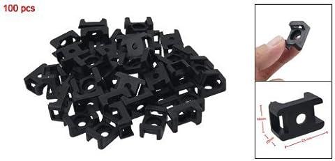 SODIAL(R) 100 x Base de fixation pour cable support de fil 4.5mm noir de largeur