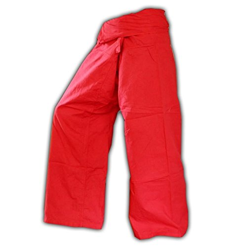 Panasiam, pantalon Thai (Fisherman), coloris rouge - Taille unique