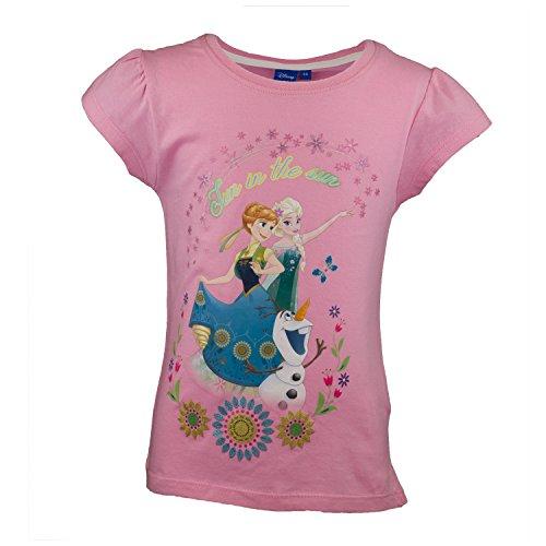 Disney Die Eiskönigin Kinder T-Shirt aus 100% Baumwolle, Prinzessin Kurzarm Shirt für Mädchen mit ELSA und Anna aus Frozen - Tshirt Farbe Rosa, Gr 108