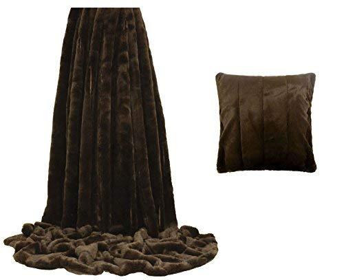 Kunstfell Schokolade Braun gestreift Überwurf Decke 130x 180cm & 45,7cm Kissenbezug -