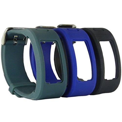 HopCentury Ersatz-Uhrenarmband für Garmin Vivofit, Einheitsgröße, Riemen mit Metall-Verschluss, Schnalle, für Garmin Vivofit der 1.Generation,3er-Pack