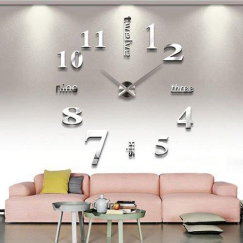 Soledi Digital DIY Wanduhr, 3D Spiegel rahmenlose Wanduhren Aufkleber, Stilles Laufwerk Ohne Gerausch, Moderne Uhren für Wohnzimmer Schlafzimmer Home büro Dekoration (Silber)