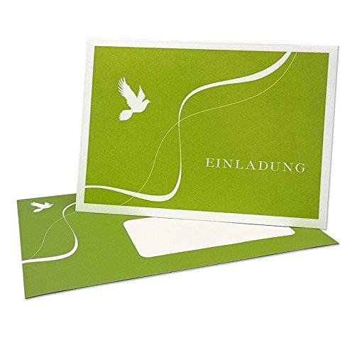 Einladungskarte 'Taube' Grün - zur Kommunion, Konfirmation oder Taufe - zum Bedrucken