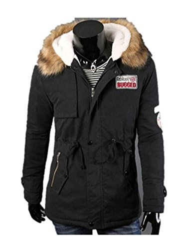Malloom® Herren Herbst Winter Zipper Lange Baumwolljacke Männer Kapuzenmantel Bluse (XXXXL, schwarz) (Tees Perry Fred Männer)