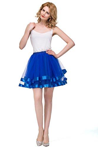 Babyonline® 1950 Petticoat Reifrock Unterrock Petticoat Underskirt Tüllrock Crinoline für Rockabilly Kleid König Blau