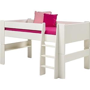 Steens for Kids Halbhochbett, MDF weiß lackiert, FSC zertifiziert, 90x200cm Liegefläche