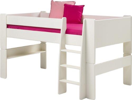 *Steens für Kinder Halbhochbett, inkl. Lattenrost und Absturzsicherung, teilbar, MDF, 90×200 cm, weiß lackiert*
