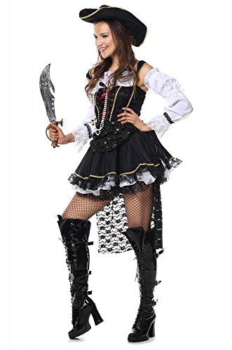 Deluxe Kostüm PIRATIN mit SCHLEPPE, Größe:XS (Deluxe Piraten Kapitän Sexy Kostüm)