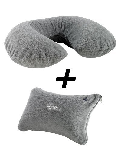 PEARL Inflatable Neck Pillow and Neck Pillow with Fleece Cover