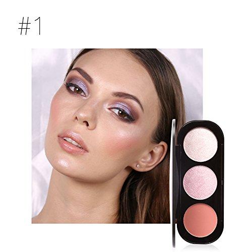 Fard clifcragrocl,3 colori Blusher evidenziando polvere Palette cosmetici donne bellezza viso trucco - 1#