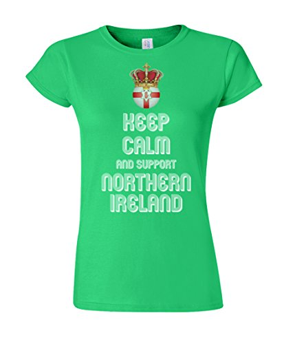 Damen T-Shirt Keep Calm & Support Northern Ireland Football Ladies Euro 2016