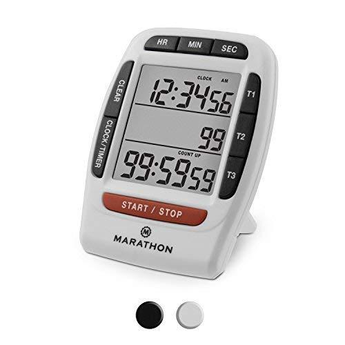 Marathon Ti030007 Triple Minuteur avec compte à rebours, chronomètre. et fonction Horloge et clip magnétique, piles incluses