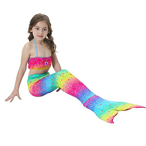 Girls 3PCS Mermaid Tail Swimsuit Princess Swimwear Bikini Set Can Add Monofin