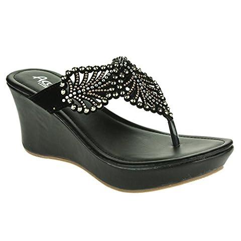 Frau Damen Diamant Blatt Detail Zehenpfosten Abend Casual Komfort Schlüpfen Niedrig Keilabsatz Schwarz Sandalen Schuhe Größe (Glitter Blätter)