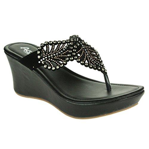 Femmes Dames Diamante Détail des feuilles Toe Post Soir Casual Confort Enfiler Faible Talon Compensé Sandales Chaussures Taille Noir