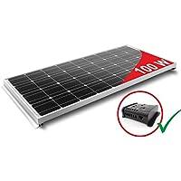 Pannello Solare 100W Monocristallino per Camper. Kit completo di Accessori per il montaggio e di Regolatore 10A