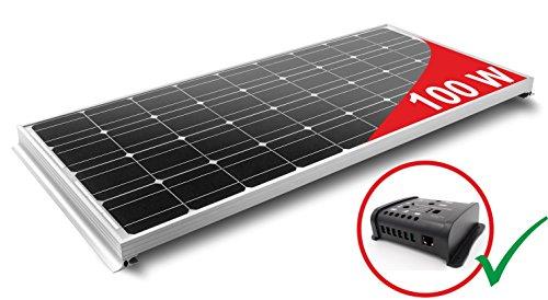 Panel Solar 100W monocristallino para Camper. Kit completo de accesorios para el montaje y de regulador 10A
