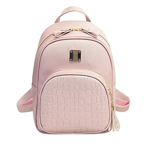 TnXan Women Backpack Leather School Bags for Teenager Girls Stone Sequined Female Preppy Style small Backpack Casual Daypacks Waterproof Backpack travel Backpack (Secret Pink Rucksäcke Victoria)