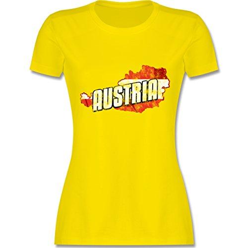 EM 2016 - Frankreich - Austria Umriss Vintage - tailliertes Premium T-Shirt mit Rundhalsausschnitt für Damen Lemon Gelb