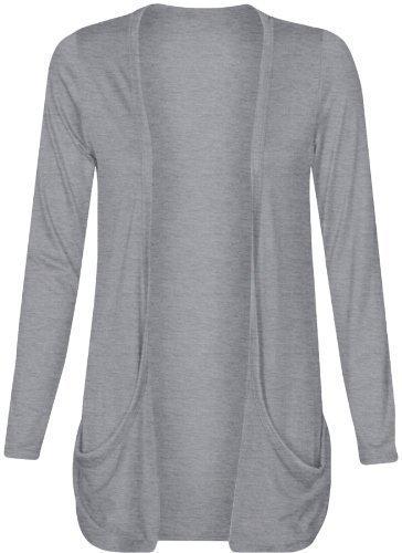 Damen Boyfriend-Strickjacke mit offenen Taschen oben, Strickjacken, Damen Übergröße, Gr. 16, 18, 20, 22, 24, 26,, Grau - Grau, XXL (Tasche Strickjacke)