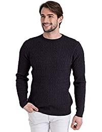 WoolOvers Pull torsadé à col rond - Homme - Cachemire & Coton Charcoal, S