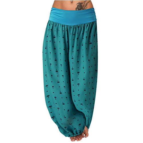 en Haremshose Pumphose Solid Einfarbig Dots Muster Print Druck Lang Long Hippie Falten Gefaltet Mid Waist Casual Loose Lose Aladdin Indian Baggy Trousers Stoffhose (L,Türkis) ()