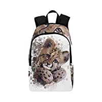 Cheetah Cub Painting Casual Daypack Travel Bag College School Backpack for Mens and Women