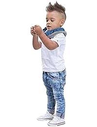 3PCS Bebé manga corta camiseta +bufanda+larga vaqueros Jeans pantalones ropa Conjunto,Yannerr niña niño primavera Verano tejana bordada Denim top Jersey mono traje