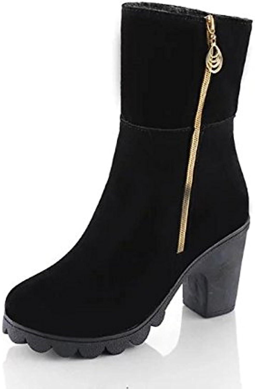 ZHZNVX HSXZ Zapatos de Mujer Polipiel Invierno Primavera Moda Botas Botas Chunky Talón Round Toe Toe/Tobillo Cerrado...