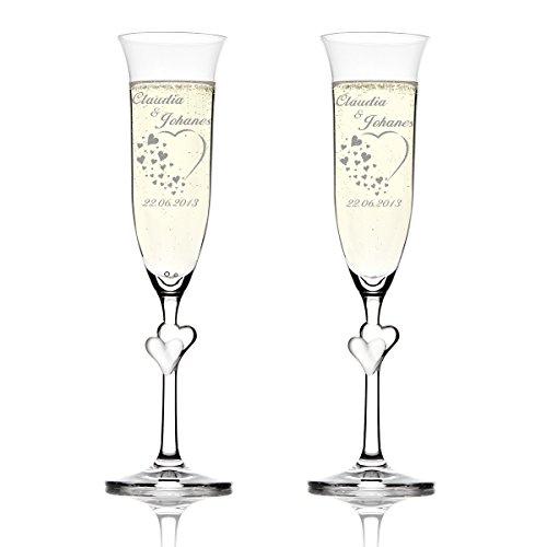 Stölzle Lausitz Amour Ensemble de 2 coupes à champagne avec gravure personnalisée motif - Coeur avec de nombreux petits coeurs
