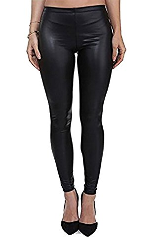 PrettyFashion Damen-Kunstleder-Leggins, Wet-Look, matt, elastischer Bund, Größen 36–50, Matte Black, 8/10